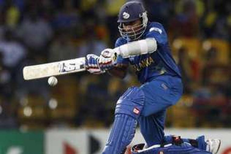 Mahela Jayawardene plays a shot in their semi-final match against Pakistan. (AP Photo)