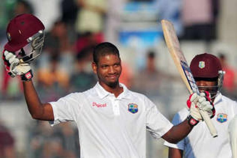 West Indies cricketer Shivnarine Chanderpaul acknowledges the crowd after scoring a century during the first day of the first Test match between Bangladesh and West Indies. He remained not out at 123. (Getty Images)