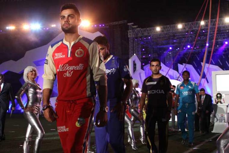 Royal Challengers Bangalore's newly-appointed captain Virat Kohli leading other skippers to the gigantic stage set up for the opening ceremony.