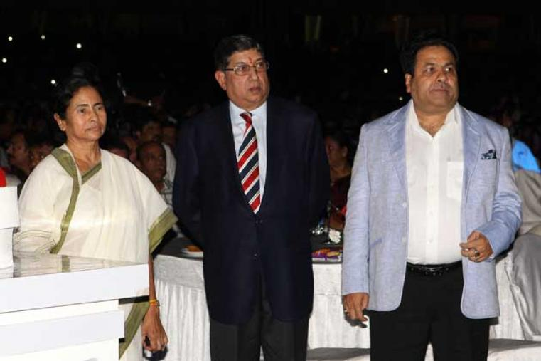 West Bengal Chief Minister Mamata Banerjee, accompanied by BCCI president N Srinivasan and IPL chairman Rajeev Shukla.