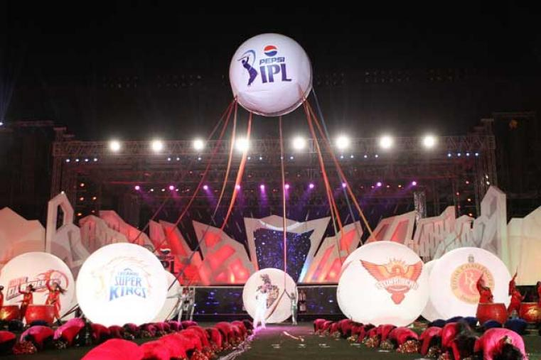 An air balloon with the IPL logo was lifted atop the stage, with huge placards showing the logos of all nine teams attached to it.