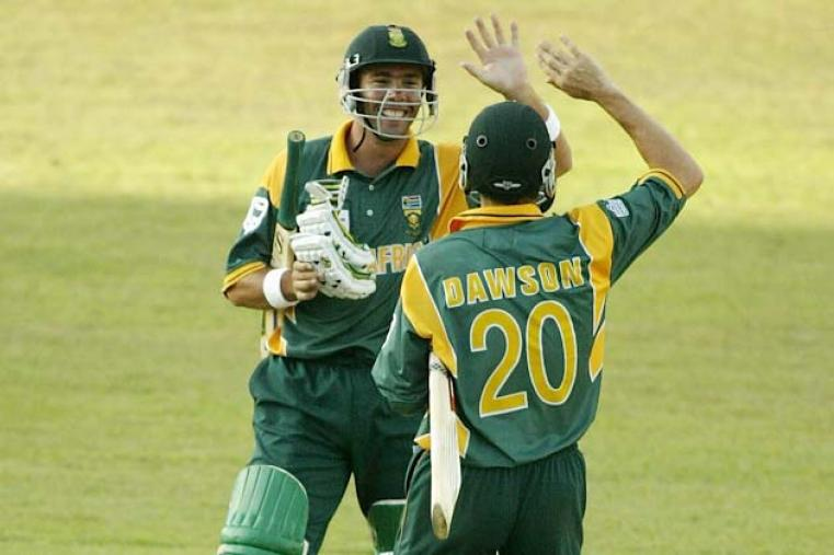 The 2002 edition of the Champions Trophy was hosted by Sri Lanka and one of the early highlights of an otherwise dull tournament was South Africa's last-ball win over West Indies. The sixth ball was a wide and Nicky Boje ran a single to get Alan Dawson on strike, who edged the last ball for four. (Getty Images)