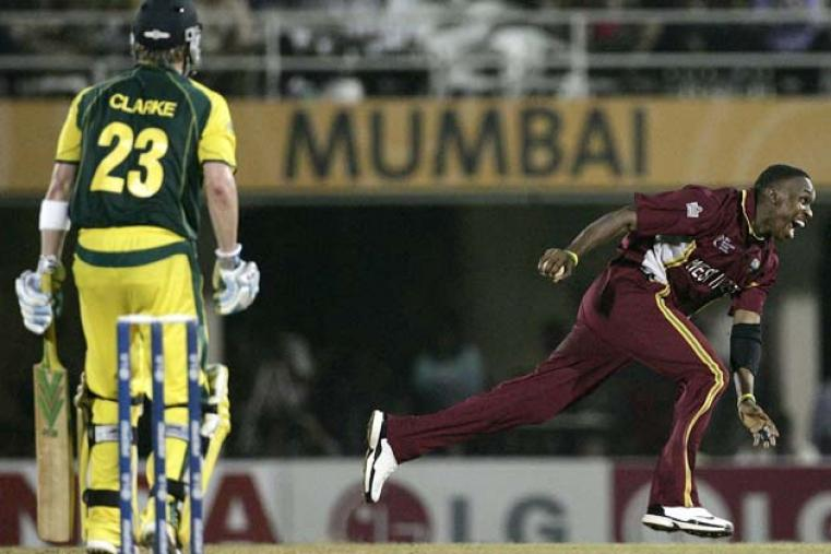 West Indies bounced back with a 10-run win over Australia in Mumbai, which saw a superb slower ball from Dwayne Bravo sucker Michael Clarke into popping back a return catch. (Getty Images)