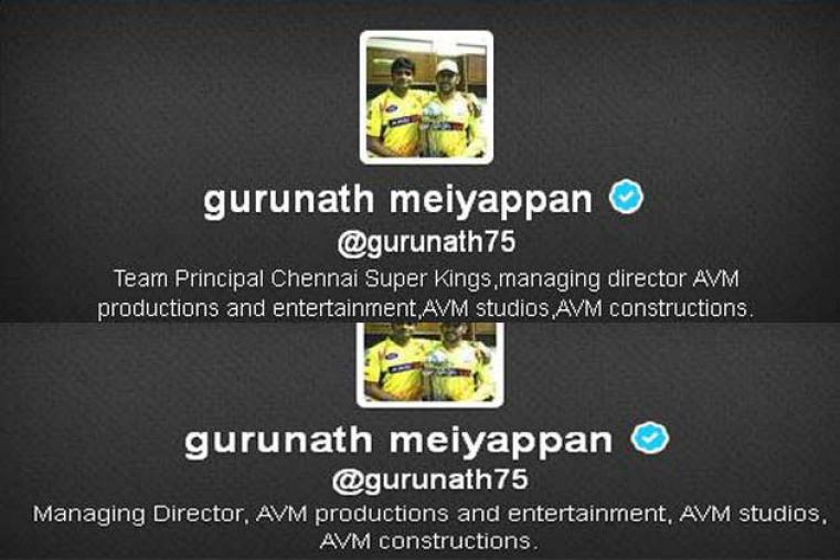 The Twitter handle bio of Gurunath Meiyappan was updated and the reference to CSK was removed a few minutes after it came to light that he was described as Team Principal Chennai Super Kings.
