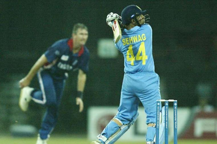 Virender Sehwag scored a ballistic century against England during a league match at Colombo. His 126 off 104 dominated an opening stand of 192 with fellow centurion Ganguly as India won by eight wickets (Getty Images)