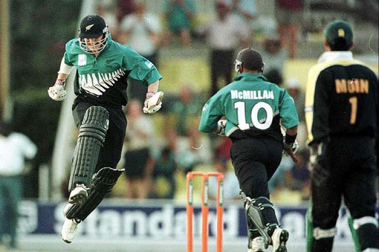 New Zealand beat Pakistan in a thriller of semi-final at Nairobi on October 11, 200. Chasing 253, they were 187 for 6 before Craig McMillan and Scott Styris steered New Zealand home with an over to spare. (Getty Images)