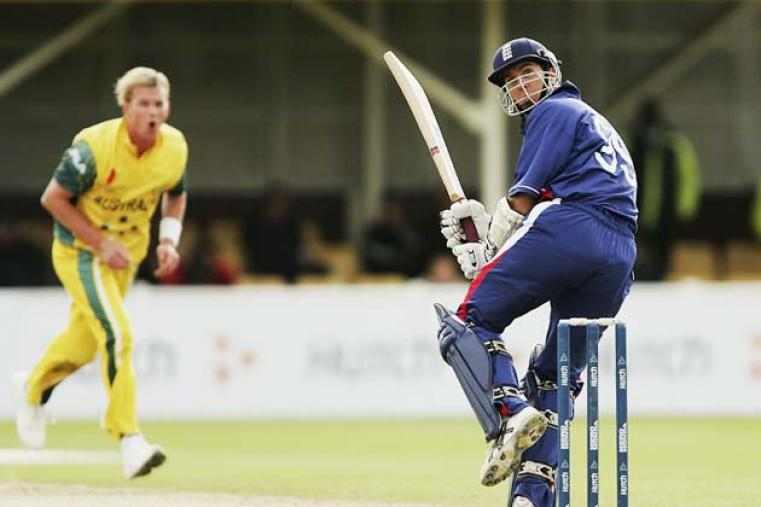 Michael Vaughan followed his 2 for 42 with a classy 86 as England beat Australia by six wickets in the first 2004 semi-final at Edgbaston. (Getty Images)