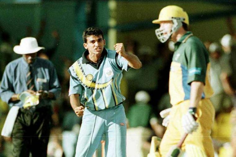 India knocked Australia out of the ICC Knockout in Kenya in the quarter-finals. One of the highlight of that 20-run win was Zaheer Khan's yorker to Steve Waugh in the 43 moment in the young fast bowler's career. (Getty Images)