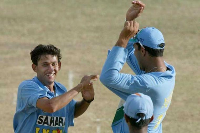 Ajit Agarkar grabbed 3 for 33 as India bowled out West Indies for 191 in 36.2 overs, thus winning by 56 runs (D/L method). (AFP)