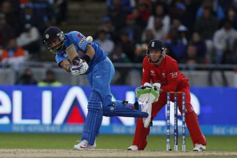 Virat Kohli was the top scorer for India; he scored 43 off 34 balls with four boundaries and a six. (AP Photo)