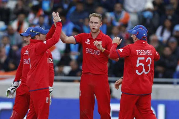 Stuart Broad picked up the first wicket for England in the form of Rohit Sharma. (AP Photo)