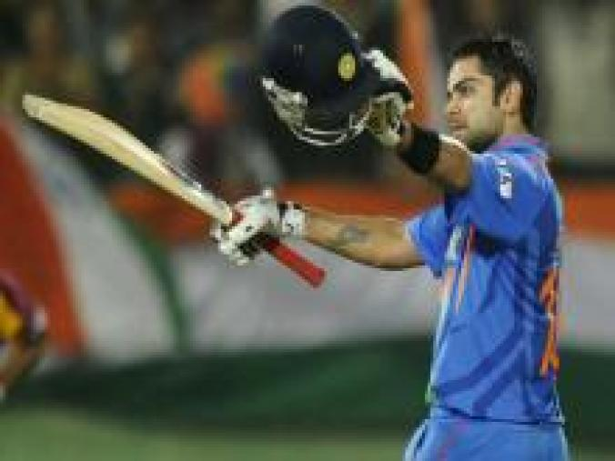 On December 2, 2011 in Visakhapatnam, Kohli's 117 steered India to a five-wicket win over West Indies. Chasing 270, the hosts had slipped to 84 for 3 but Kohli shored up the innings. (AFP)