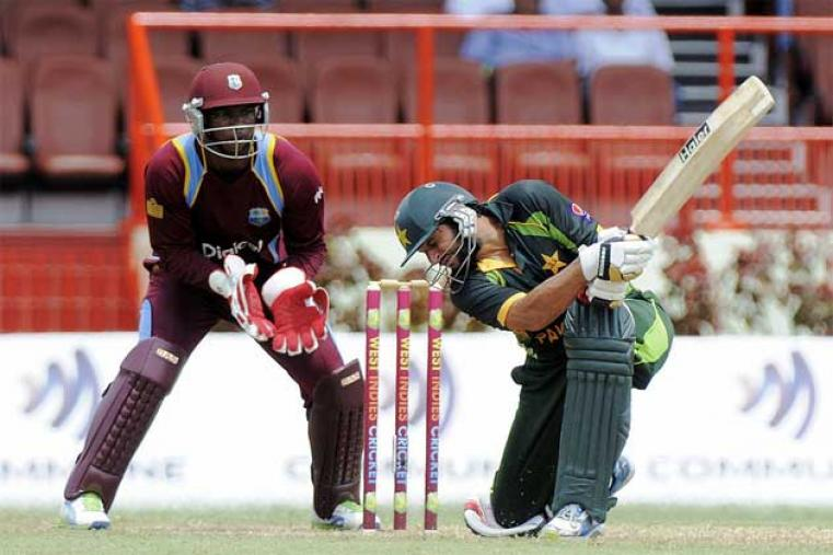 Shahid Afridi then combined with Misbah ul Haq (52) for a 120-run stand scoring 76 off just 55 balls reviving the Pakistan innings after the early slump. (WICB Images)
