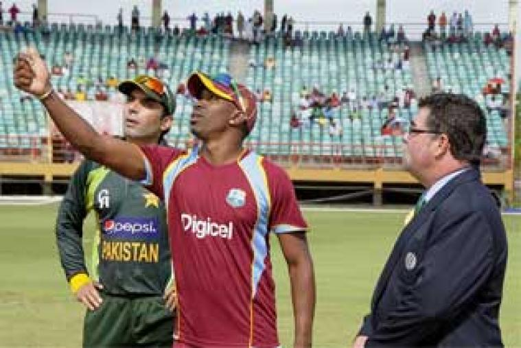 After a rain delayed toss, West Indian skipper Dwayne Bravo won the toss and put Pakistan in to bat first on a seaming track at the Providence Stadium, Guyana. (WICB Images)