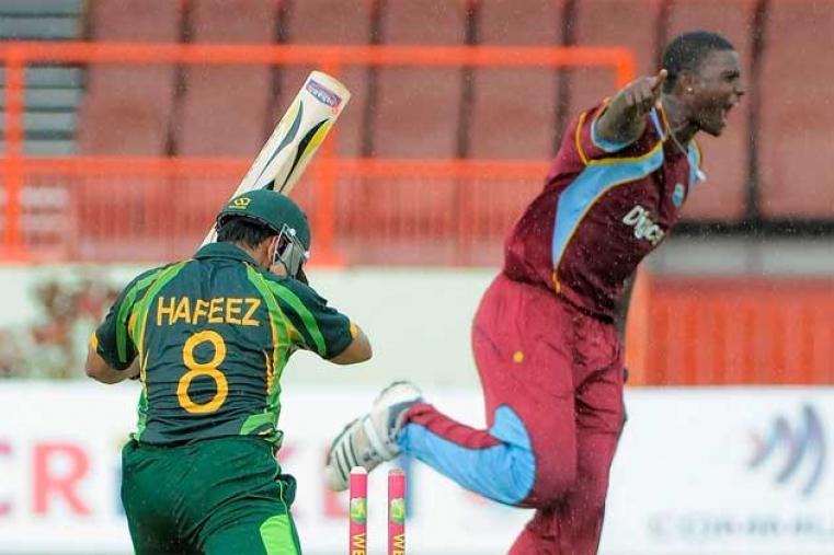 West Indies were off to a stellar start as Jason Holder ripped through the Pakistan top order picking up four wickets inside 10 overs to leave Pakistan reeling, Holder finished with astonishing figures of 10-4-13-4. (WICB Images)