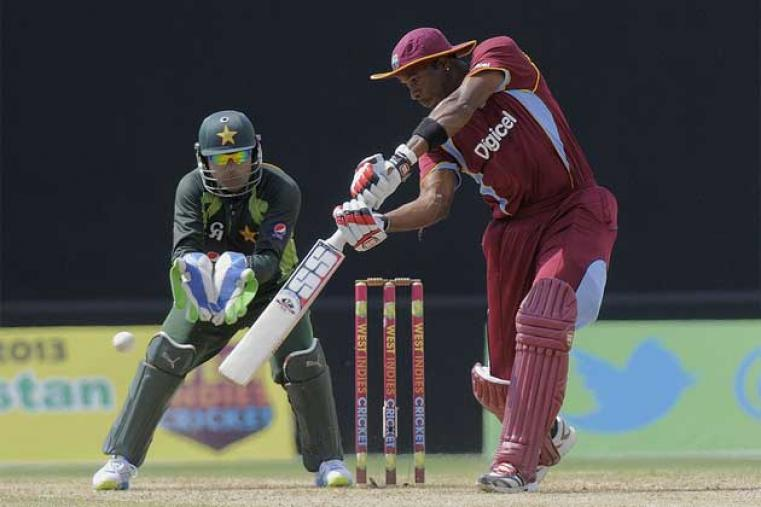After the early setbacks, Kieron Pollard stuck around a bit scoring 49 unbeaten runs to help West Indies to a decent total of 152 for 7 in 20 overs. (WICB Media)