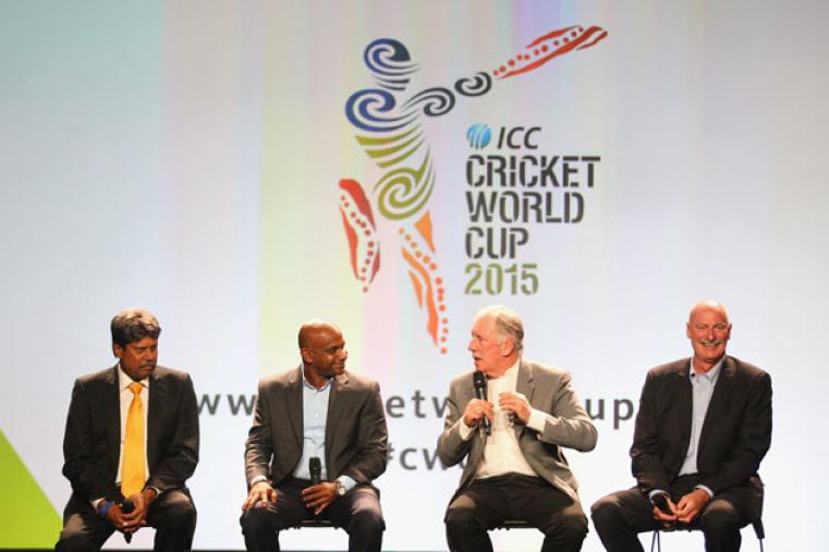 The event witnessed the presence of many cricketing greats. (From left to right) Kapil Dev, Sanath Jayasuriya, Ian Chappel and Dennis Lillee were seen speaking on stage in Melbourne.