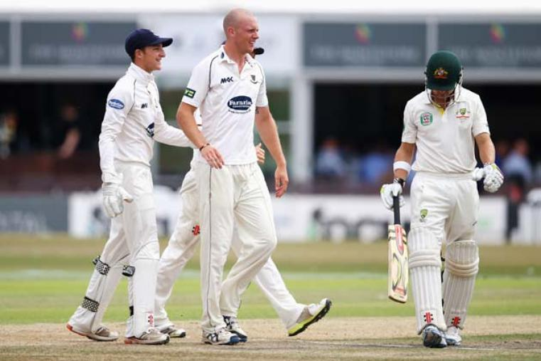 Lewis Hatchett celebrates after dismissing Ed Cowan for 66 runs. He took two wickets in his spell.