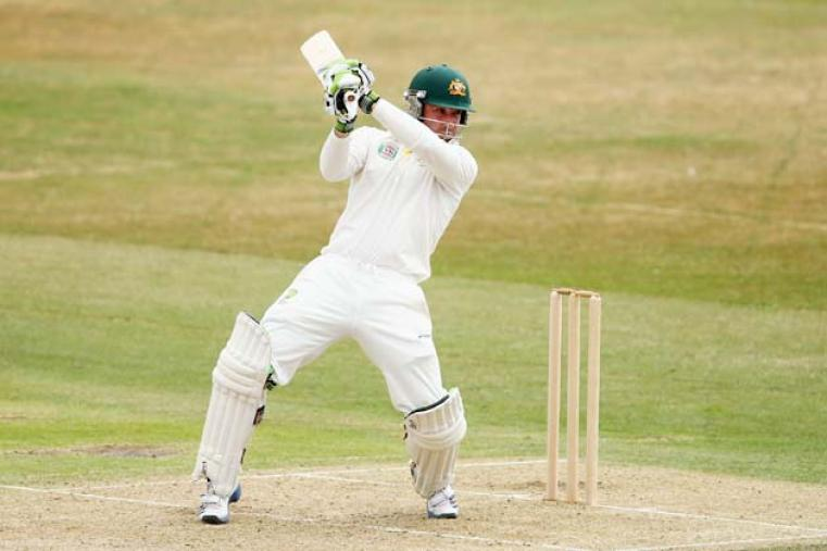 Phil Hughes scored a magnificent 84 off 118 balls before being dismissed by Lewis Hatchett. Hughes stitched a solid 150-run opening stand with Ed Cowan (66). (Getty Images)