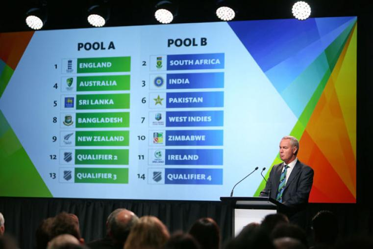 India have been grouped with South Africa, Pakistan, West Indies, Zimbabwe, Ireland and Qualifier 4 whereas co-hosts Australia and New Zealand have been pooled alongside England, Sri Lanka, Bangladesh, Qualifier 2 and Qualifier 3.