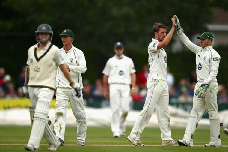 Four Australian wickets fell on Day 1. Here, Jack Shantry celebrates the wicket of Rogers.