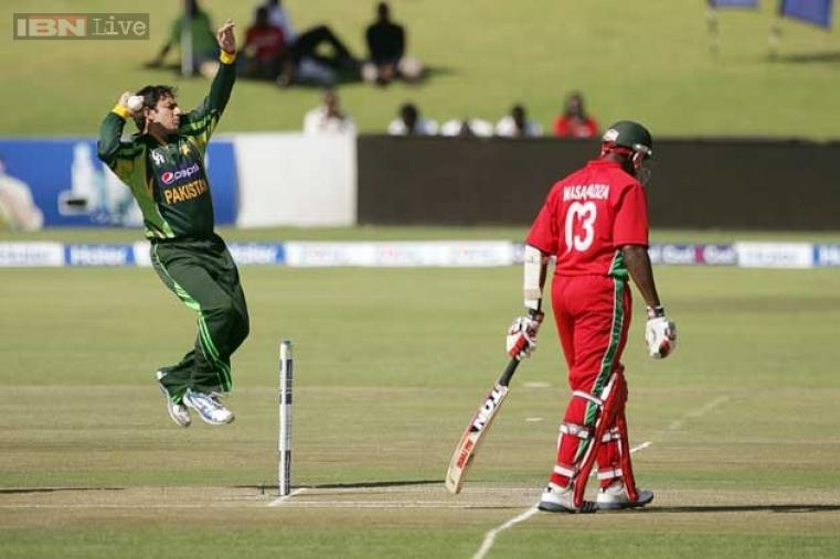 Saeed Ajmal was the pick of the bowlers for Pakistan as he picked up two wickets for 44 runs in his 10 overs. (AFP Photo)