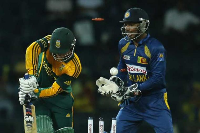 In reply, South Africa's Quinton de Kock started briskly scoring 27 off 21 balls but lost his wicket to Sachitra Senanayake. (AP Images)
