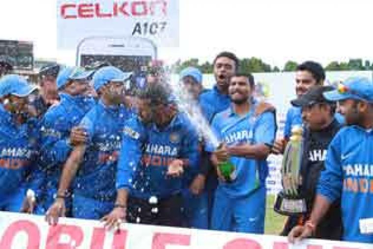 Indian players celebrate after blanking Zimbabwe 5-0 in the ODI series. (AP Photo)