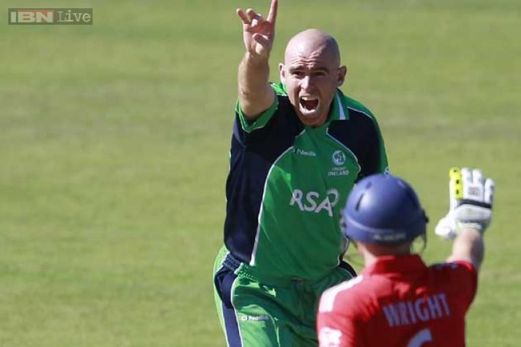 Trent Johnston picked up the first wicket for Ireland in the form of Michael Carberry. (AFP Photo)