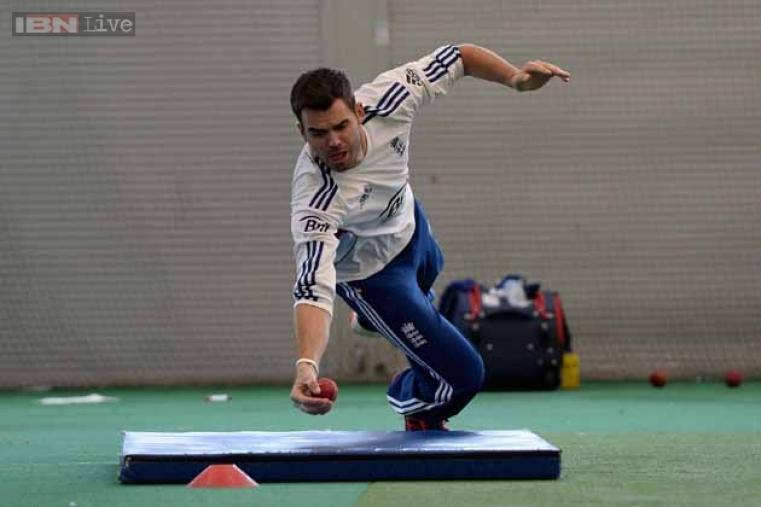 James Anderson of England takes a catch during a nets session.