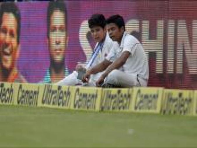Sachin's son Arjun chose to be a ball-boy on Day 2 and 3, doing something his father do during the 1987 World Cup in India. (BCCI)