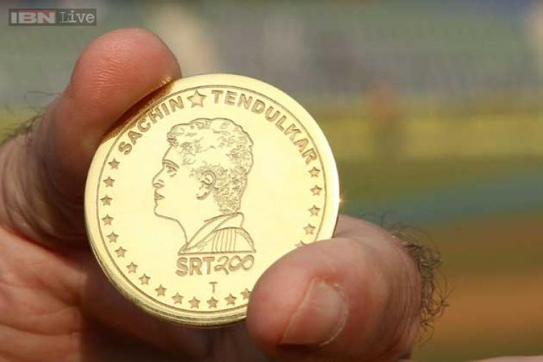 The historic game began with a number of festivities, including this gold coin specially designed for the toss in Sachin's 200th and last Test.