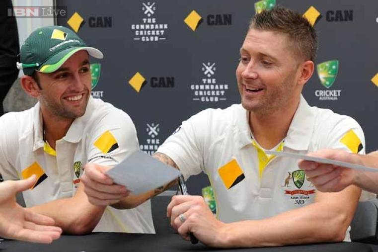 Michael Clarke and Nathan Lyon of Australia during a function in Brisbane, Australia.