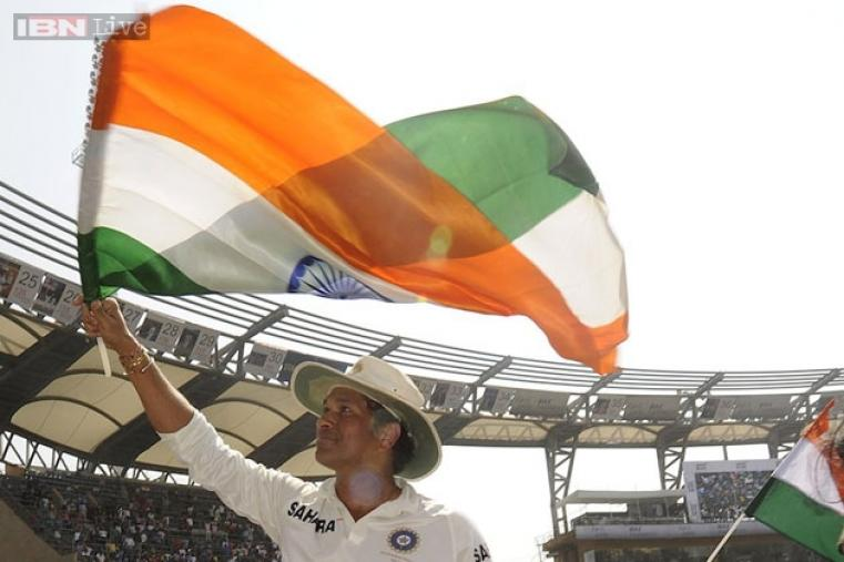 Sachin waved the national flag with pride, reminding of April 2, 2011, when India won their second World Cup trophy.