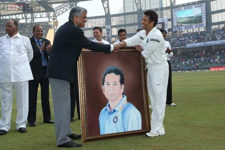 Mumbai Cricket Association presented Sachin with a portrait of his before the start of the match.