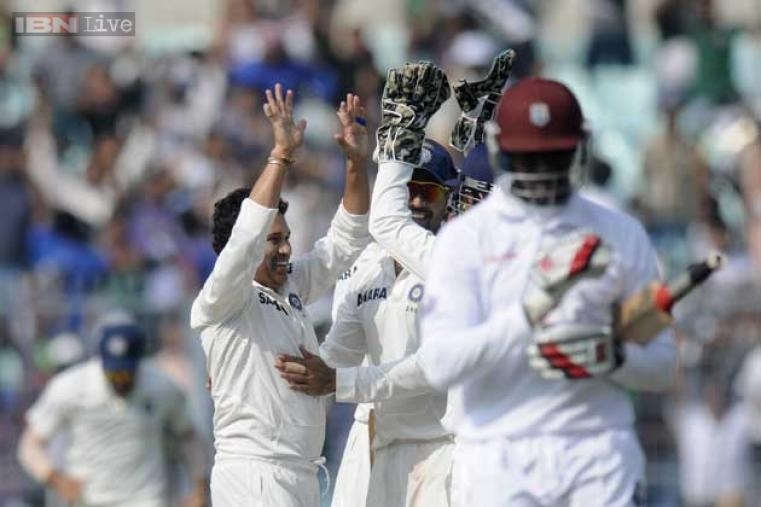 The moment of the opening day was Tendulkar bowling and then going on to take his 46th Test wicket.