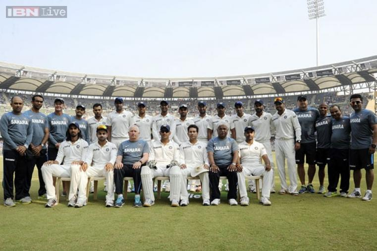 The Indian team, including the backroom staff, gathered for a team photo on the momentous occasion.
