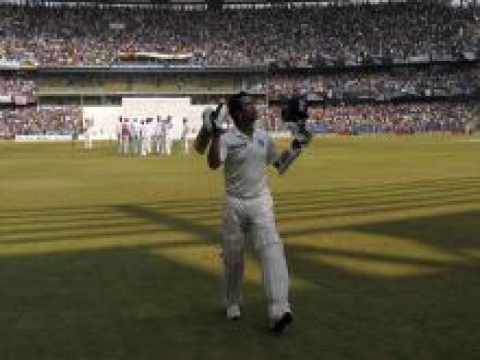But a century wasn't to be, and the master was dismissed for 74 by Narsingh Deonarine who also entered into the history books, as Sachin took his last walk into a golden sunset. (BCCI)