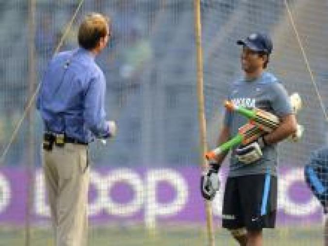 Sachin with legspin legend Shane Warne at nets before the start of play on Day 2. (BCCI)