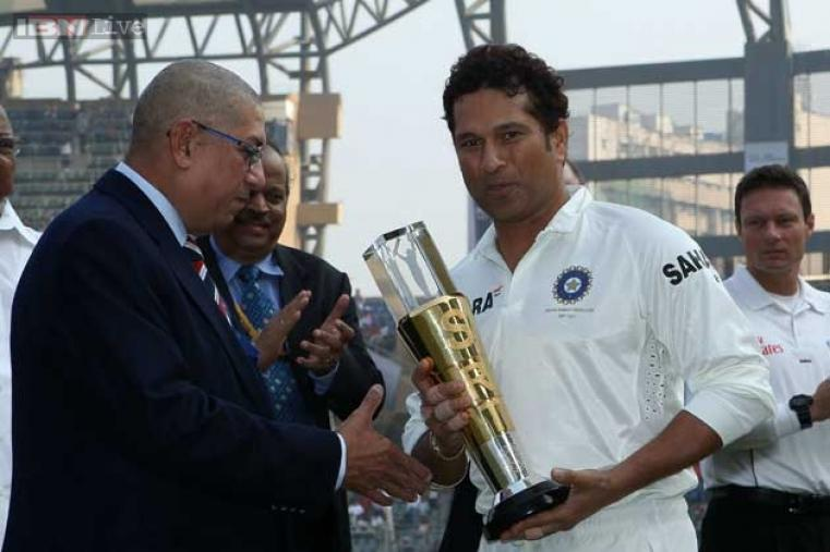 BCCI president N Srinivasan, on behalf of the Indian board, presented Sachin with a memento for playing 200 Tests, the most by any cricketer