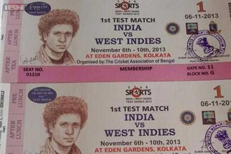 The match ticket was specially designed with a portrait of Tendulkar printed on it.