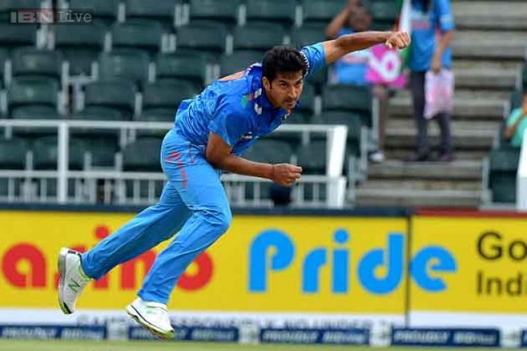 Mohit Sharma in action as he opened the attack for India in the first ODI.