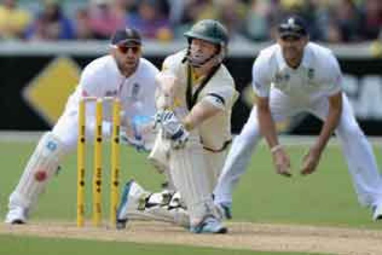 Australian opener Chris Rogers in action during his knock of 72 against England on day one of the second Test.
