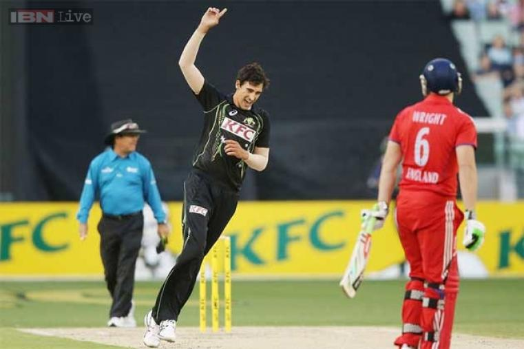 Mitchell Starc exults after dismissing Luke Wright for a 'duck'.