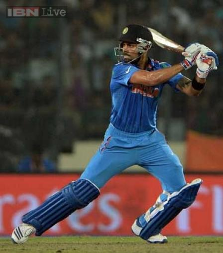 Virat Kohli was the chief destructor, scoring 74 not out off 48 balls, including 8 boundaries.