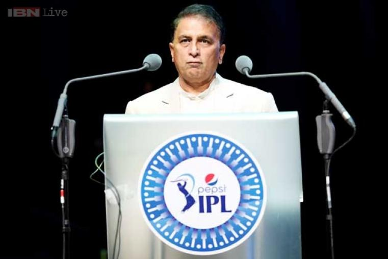 BCCI's IPL-specific interim president Sunil Gavaskar giving a welcome speech ahead of the gala dinner.