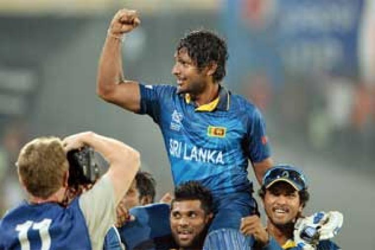 Kumar Sangakkara gestures towards fans after Sri Lanka won the ICC World Twenty20 tournament. Sri Lanka defeated India by six wickets in the final at the Shere Bangla stadium at Dhaka.