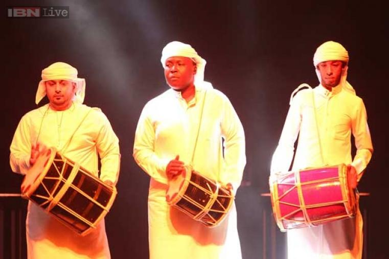 Entertainers perform in traditional Emirates style during the gala dinner.