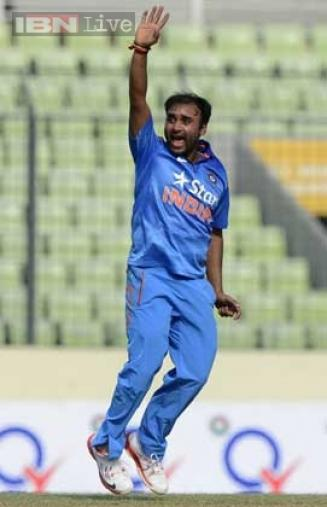 Amit Mishra appeals unsuccessfully for a leg-before-wicket decision during the first ODI.