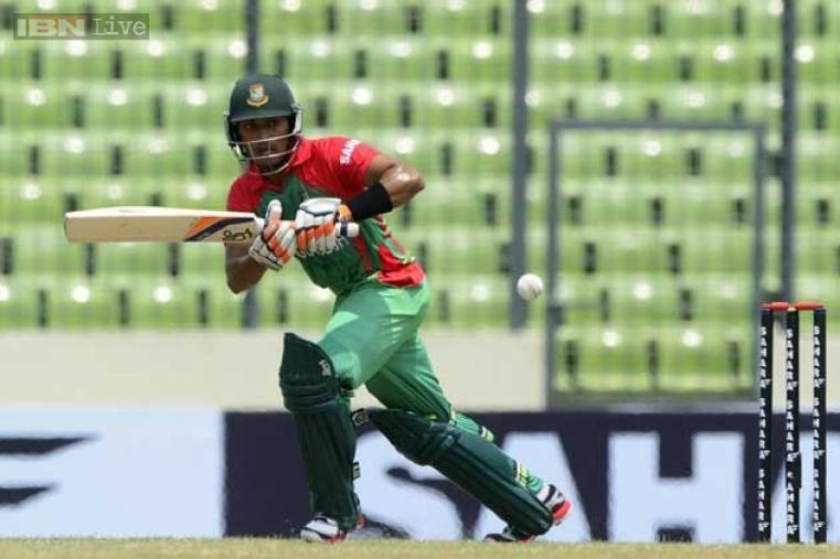 Anamul Haque in action during his knock of 44 in the first ODI against India.